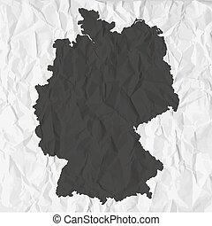 mappa, germania, carta, sfondo nero, spiegazzato