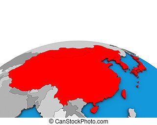 mappa, globo, asia orientale, 3d