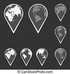 mappa, globo, emblem., vettore, terra, puntatore, set.