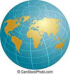mappa, globo, griglia, illustrazione, mondo