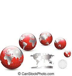 mappa, globo, mondo