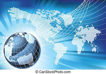 mappa, globo, parola, fondo, terra