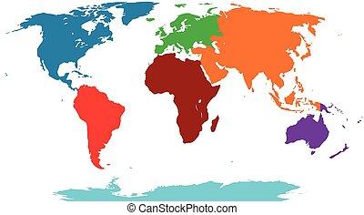 mappa, grafico, colorato, illustrazione, vettore, mondo