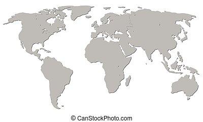 mappa, grafico, grigio, illustrazione, vettore, mondo