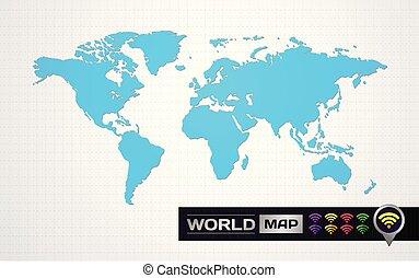 mappa, grafico, illustration., elemento, vettore, grande, mondo