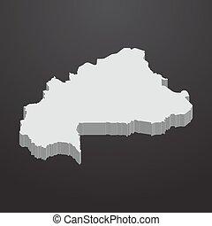 mappa, grigio, burkina, nero, faso, fondo, 3d
