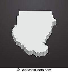mappa, grigio, sudan, sfondo nero, 3d