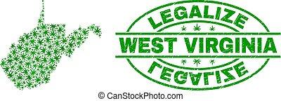 mappa, grunge, collage, ovest, foglie, legalize, virginia, canapa, stato, sigillo, francobollo