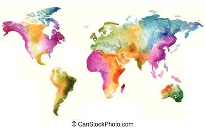 mappa, grunge, colorito, watercolor., illustrazione, vettore, effetti, mondo