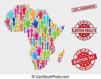 mappa, grunge, francobollo, africa, 100%, elettorale, composizione, garanzia