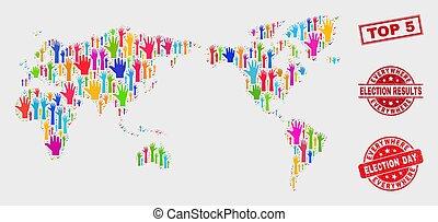 mappa, grunge, francobollo, cima, 5, elezione, mondo, composizione