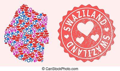 mappa, grunge, francobollo, composizione, swaziland, sorriso, cuore, amore