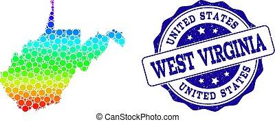 mappa, grunge, francobollo, virginia ovest, spettro, stato, sigillo, puntino