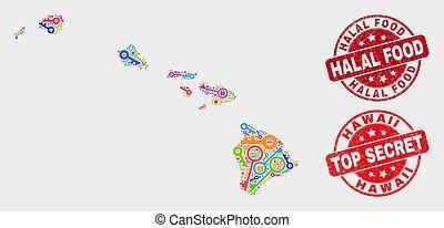 mappa, grunge, intimità, cibo, hawai, francobollo, stato, halal, sigillo, composizione