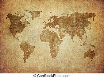 mappa, grunge, mondo