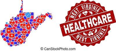 mappa, grunge, ovest, sigillo, virginia, stato, sanità, composizione, mosaico