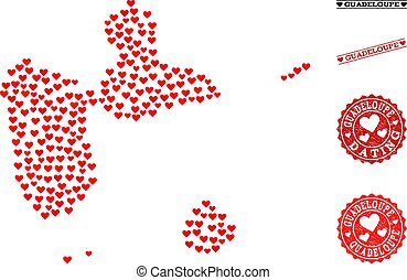 mappa, grunge, valentines, francobolli, amore, guadalupa, mosaico