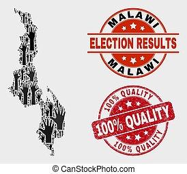 mappa, grunge, watermark, scheda elettorale, 100%, composizione, qualità, malawi