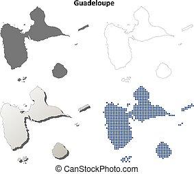 mappa, guadalupa, set, contorno