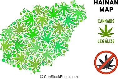 mappa, hainan, collage, isola, foglie, marijuana, libero, regalità