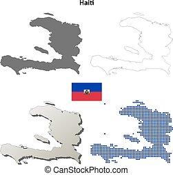 mappa, haiti, set, contorno