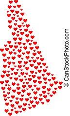 mappa, hampshire, valentina, stato, nuovo, mosaico