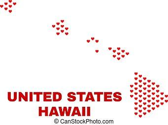 mappa, -, hawai, valentina, stato, cuori, mosaico