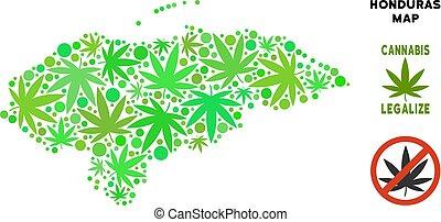 mappa, honduras, collage, foglie, marijuana, libero, regalità