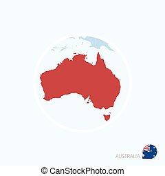 mappa, icona, di, australia., blu, mappa, di, oceania, con, evidenziato, australia, in, rosso, color.