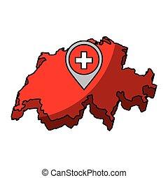 mappa, icona, isolato, svizzera