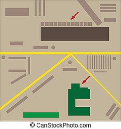 mappa, illustrazione, città, astratto