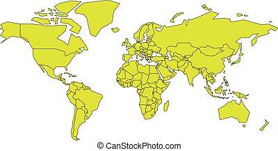 mappa, illustrazione, color., vettore, semplificato, giallo-verde, schematico, mondo