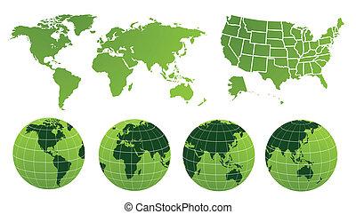 mappa, illustrazione, mondo, vettore