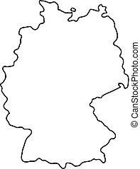 mappa, illustrazione, vettore, germania, curve, nero, contorno