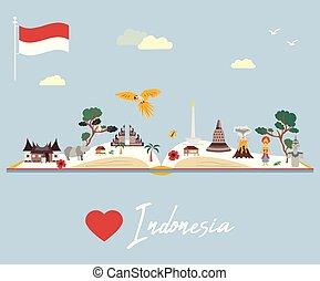 mappa, indonesiano, animali, limiti
