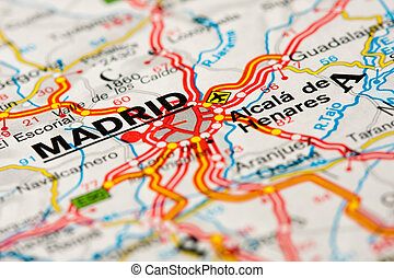 mappa, intorno, strada, madrid