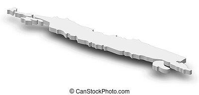 mappa, -, isabel, (solomon, islands), -, 3d-illustration