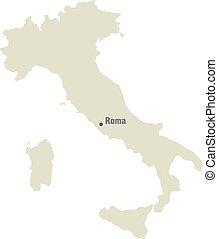 mappa, italia, silhouette