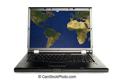 mappa, laptop, immagine schermo