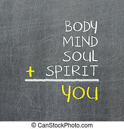 mappa, lei, corpo, semplice, -, mente, mente, anima, spirito