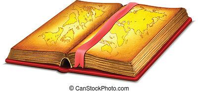 mappa, libro, aperto
