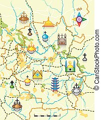 mappa, limiti, vettore, religioso, paese