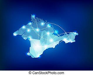 mappa, locali, Paese, macchia,  polygonal, luci,  crimea