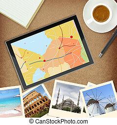 mappa, locali, tavoletta, famoso, foto,  computer,  GPS