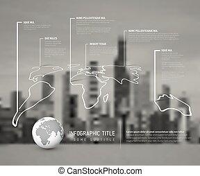 mappa, luce, infographic, magro, sagoma, mondo, linea
