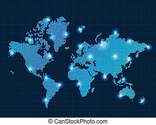 mappa, luci punto, mondo, pixel