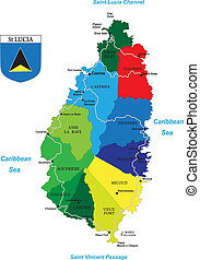 mappa, lucia, caraibico, santo, isola