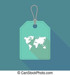 mappa, lungo, etichetta, mondo, uggia, icona