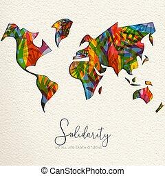 mappa, mano, diverso, solidarietà, umano, mondo, giorno, scheda