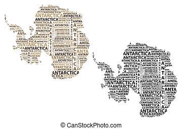 mappa, marrone, -, illustrazione, antartide, vettore, nero, continente